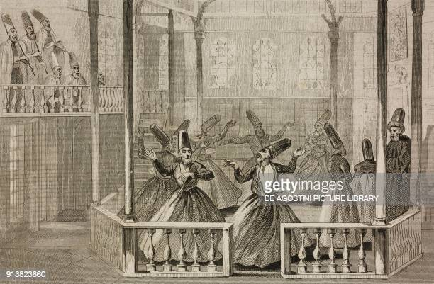 Mewlewis Dervishes dance Turkey engraving by Lemaitre Lalaisse and Chaillot from Turquie by Joseph Marie Jouannin and Jules Van Gaver L'Univers...