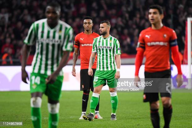 Mexer of Rennes and Jese of Real Betis during the UEFA Europa League Round of 32 First Leg match between Rennes and Real Betis at Roazhon Park on...