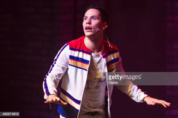 Mexican actor Christian Chavez performs his role during the presentation of the play No me puedo levantar at Aldama Theater on June 12 2014 in Mexico...