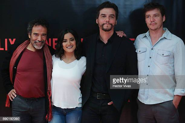 Mexican actor Damien Alcazar Mexican actress Paulina Gait‡an Brazilian actor Wagner Moura and Chilean actor Pedro Pascal pose for pictures during...