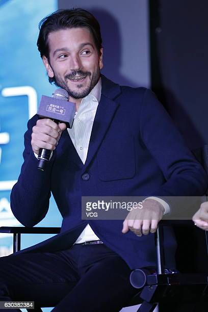 Mexican actor Diego Luna attends the press conference of film Rogue One A Star Wars Story on December 21 2016 in Beijing China