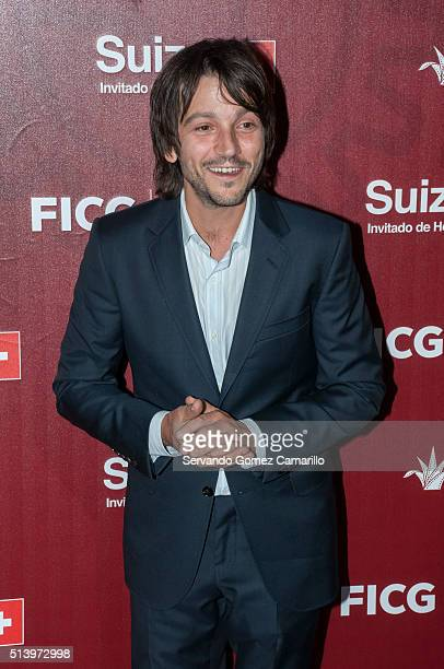 Mexican actor Diego Luna poses for photos during the red carpet of the movie Mr Pig at Diana Theater on March 05 2016 in Guadalajara Mexico