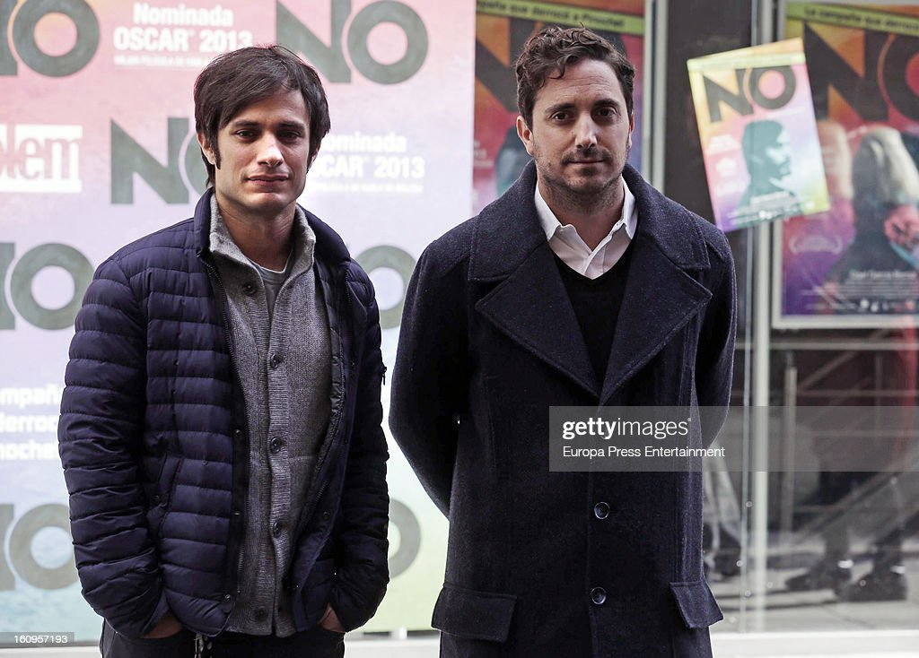 Mexican actor Gael Garcia Bernal (L) and director Pablo Larrain attend 'NO' photocall at Golem Cinemas on February 7, 2013 in Madrid, Spain.