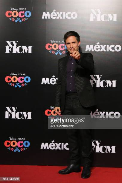 Mexican actor Gael Garcia Bernal poses during the premiere of the movie Coco in the framework of the fifth International Cinema Festival of Morelia...