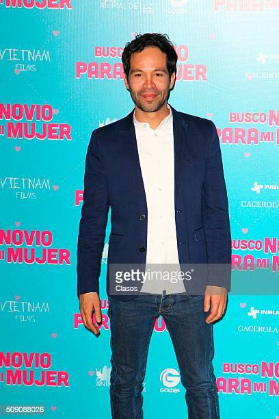 Mexican actor Mauricio Isaac poses for pictures during a press conference of the film 'Busco novio para mi mujer' at Universidad square on February...