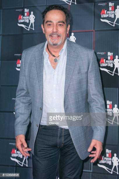 Mexican actor Omar Fierro poses from the red carpet during the 'Hoy No Me Puedo Levantar' musical premier at Aldama Theter on July 06 2017 in Mexico...