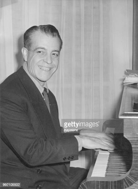 Mexican actor Ramon Novarro playing the piano, 23rd March 1959.