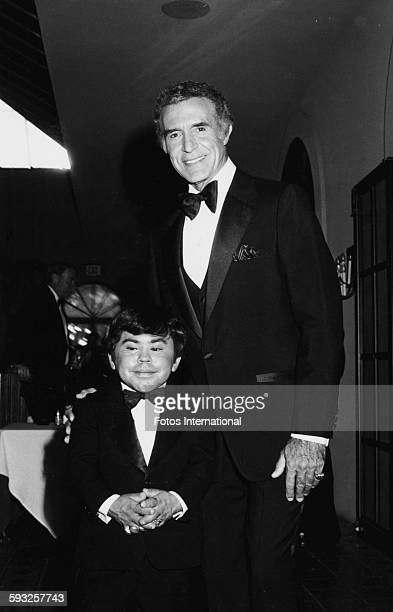 Mexican actor Ricardo Montalban and French actor Herve Villechaize, stars of 'Fantasy Island', at the Emmy Awards, California, September 8th 1979.
