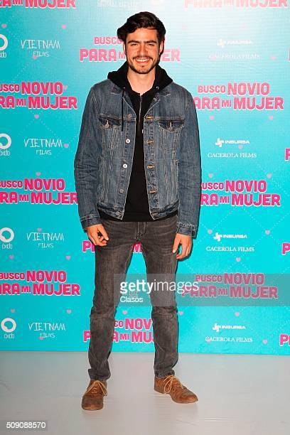 Mexican actor Yago Munoz poses for pictures during a press conference of the film 'Busco novio para mi mujer' at Universidad square on February 08...