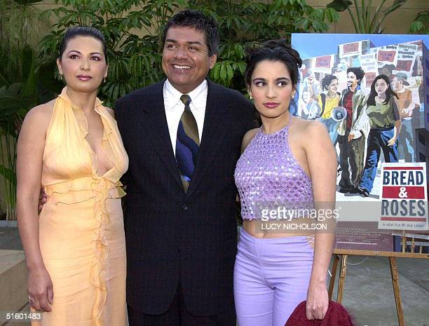 Mexican actors Elpidia Carrillo George Lopez and Pilar Padilla pose at the premiere of their new film Bread and Roses at the Egyptian Theatre in Los...