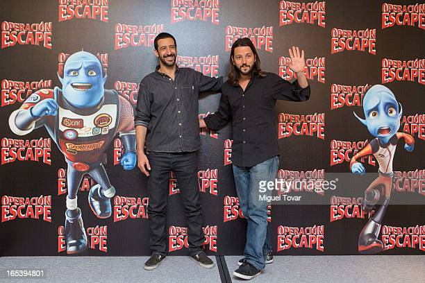 Mexican Actors Jose Maria Yazpik and Diego Luna attend the 'Operacio—n Escape' photocall at St Regis Hotel on April 03 2013 in Mexico City Mexico