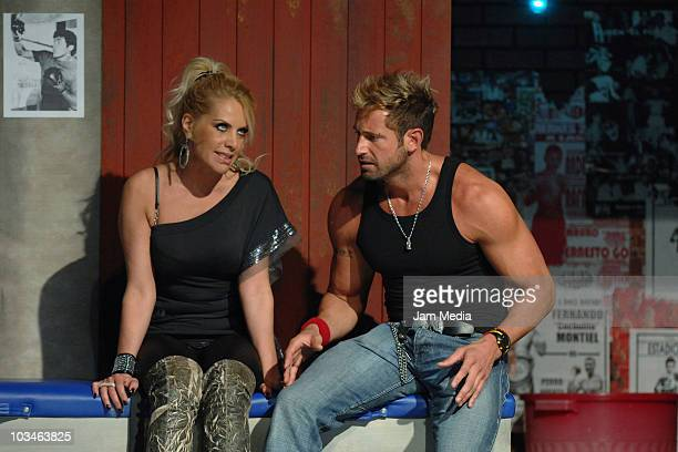 Mexican actors Lorena Herrera and Gabriel Soto during the rehearsal of the theater play Los Alacranes at the Venustiano Carranza Theater on August 19...
