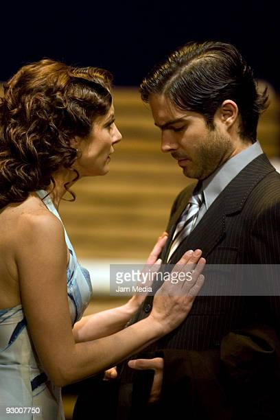 Mexican actors Silvia Navarro and Osvaldo Benavides during the Premiere of the Play ' Todos Eran Mis Hijos of Arthur Miller on November 11 2009 in...