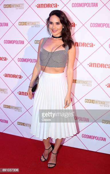 Mexican actress Adriana Louvier poses during the Cosmo Fashion Night Red Carpet on May 30 2017 in Mexico City Mexico