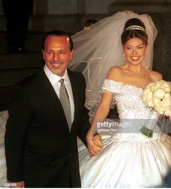 Mexican Actress And Singer Thalia Husband Tommy Mattola Smile To The Crowd After Their Marriage