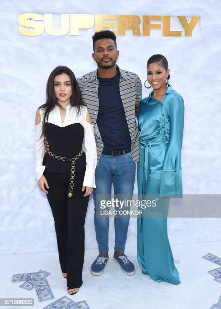 Mexican actress Andrea Londo US actor Trevor Jackson and US actress Lex Scott Davis attend the 'Superfly' Special Screening in Culver City California...