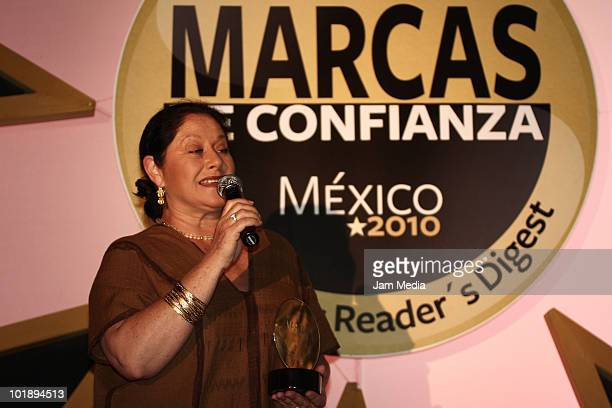 Mexican Actress Angelica Aragon during the Marcas De Confianza Awards of Readers Digest at Elago Restaurant on June 8 2010 in Mexico City Mexico