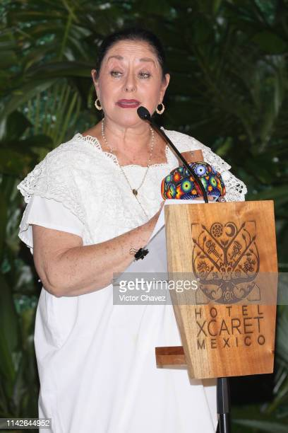 Mexican actress Angelica Aragon speaks on stage and receives the Xcaret award at Hotel Xcaret on May 10 2019 in Playa del Carmen Mexico