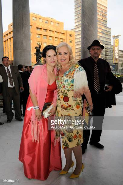 Mexican actress Arcelia Ramírez and TV producer Carla Estrada pose during the Red Carpet of 60th Ariel Awards at Palacio de Bellas Artes on June 5...