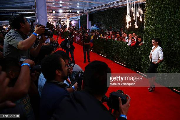 Mexican actress Ariadne Diaz poses for pictures during the Hot Pursuit film red carpet at Cinepolis Plaza Carso Cinema on June 22 2015 in Mexico City...