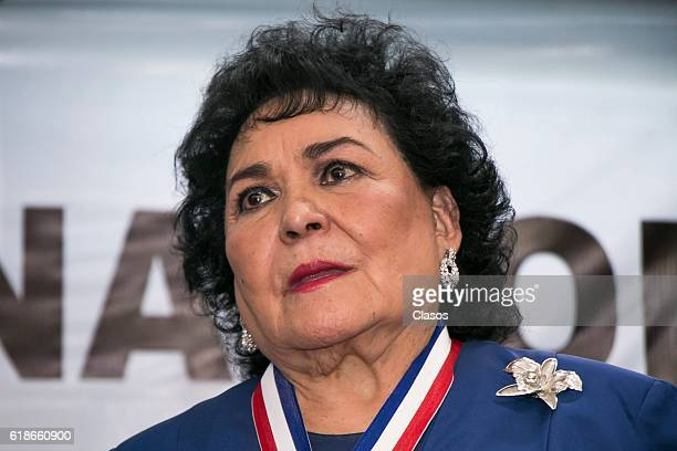 Mexican actress Carmen Salinas receives a medal during a ceremony to recognize her carrer of over 60 years at Asociacion Nacional de Locutores de...