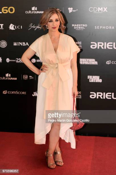 Mexican actress Claudia Ramírez poses during the Red Carpet of 60th Ariel Awards at Palacio de Bellas Artes on June 5 2018 in Mexico City Mexico