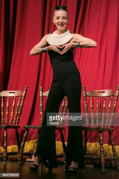 Mexican actress Edith Gonzalez poses during the press conference to announce the play 'Un Dia Particular' at San Jeronimo Theater on June 08 2017 in...
