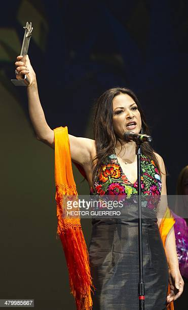 Mexican actress Elpidia Carrillo holds the Prize Guadalajara Latino honoring her career during the 29th Guadalajara International Film Festival in...