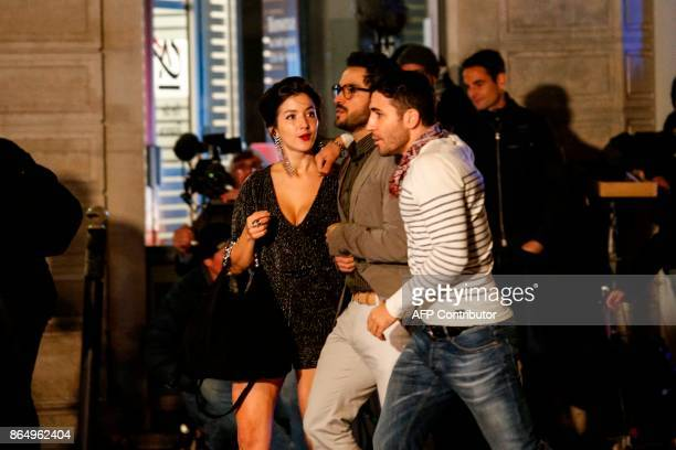 Mexican actress Erendira Ibarra Mexican actor Alfonso Herrera and Spanish actor Miguel Angel Silvestre play a scene on the set of Netflix TV scifi...