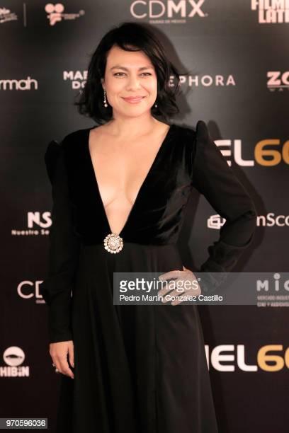 Mexican actress Giovanna Zacarías poses during the Red Carpet of 60th Ariel Awards at Palacio de Bellas Artes on June 5 2018 in Mexico City Mexico