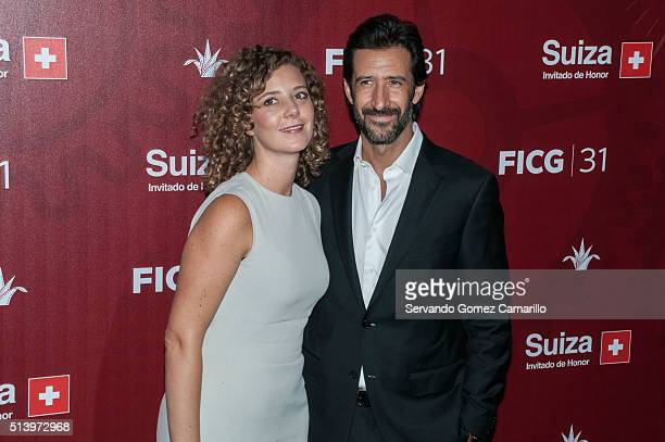 Mexican actress Joana Murillo and Jose Maria Yazpik pose for pictures during the red carpet of the movie Mr Pig at Diana Theater on March 05 2016 in...