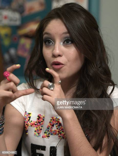 CORRECTION Mexican actress Karol Sevilla speaks with AFP during an interview on a set of the Disney TV Series 'Soy Luna 2' in Don Torcuato Tigre in...