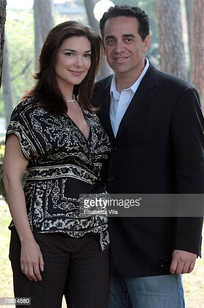 Mexican actress Laura Harring and her boyfriend Roberto Jerez pose during a photocall for ''Ghost Son' at Villa Borghese on April 18 2007 in Rome...