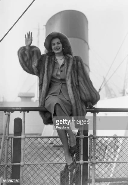 Mexican actress Linda Christian arrives at Southampton on the 'SS Queen Mary' for a trip to Europe 2nd October 1947