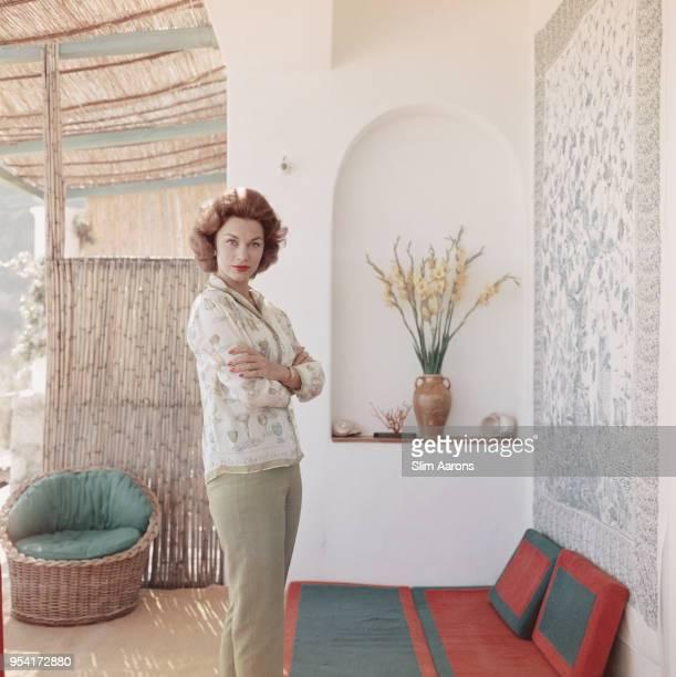 Mexican actress Linda Christian at 'La Canzone del Mare' resort Bay of Marina Piccola Capri Italy 1958