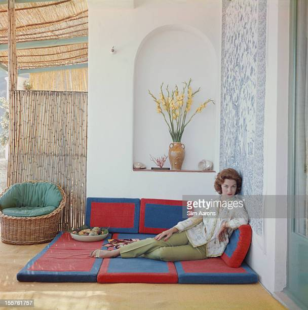 Mexican actress Linda Christian poses at the Canzone del Mare on the Picola Marina on the island of Capri Italy in July 1958