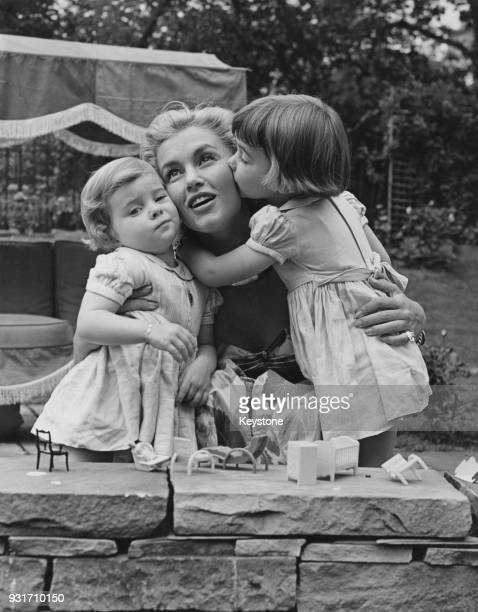 Mexican actress Linda Christian visits her two daughters Romina and Taryn in Ripley Surrey during a break from filming on the Continent 28th June...
