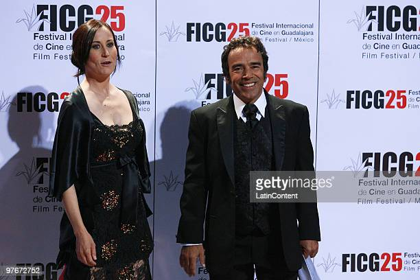 Mexican actress Lumi Cavazos and actor Damian Alcazar pose during the Red Carpet of the opening ceremony of the Guadalajara International Film...