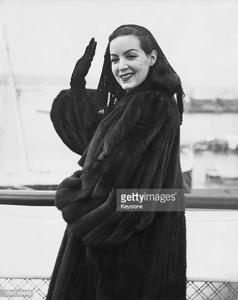 Mexican actress Maria Felix on board the SS Queen Elizabeth at Southampton en route for the US 18th March 1949