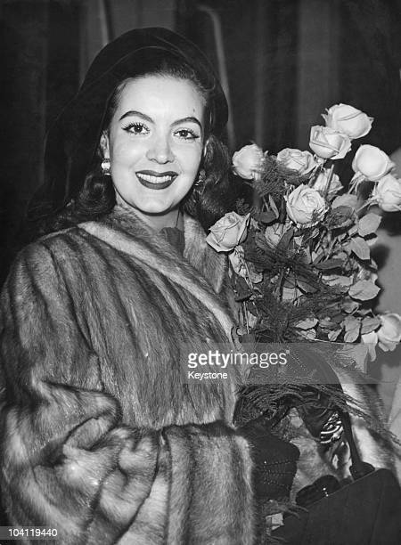 Mexican actress Maria Felix on her arrival in Paris 10th November 1949