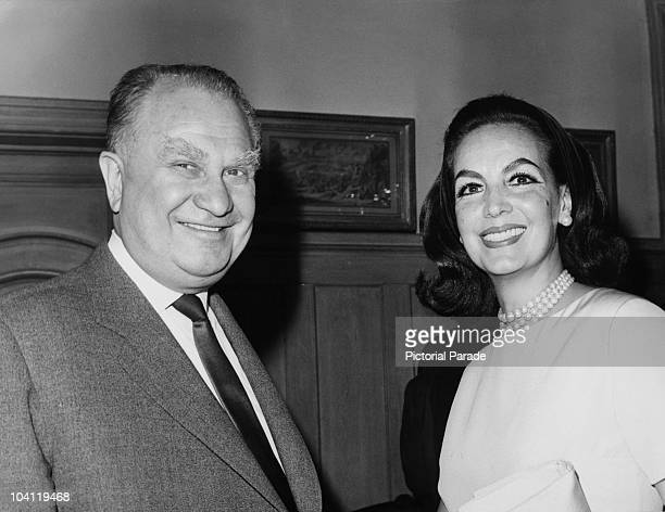 Mexican actress Maria Felix with Soviet Ambassador to France Sergei Vinogradov Paris 13th May 1964 They are at a launch party for the new Mexican...
