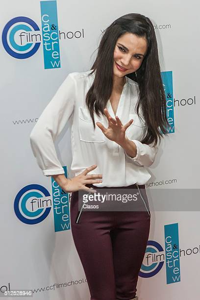 Mexican actress Martha Higareda attends opening of the Cast Crew Film School on February 25 2016 in Mexico City Mexico