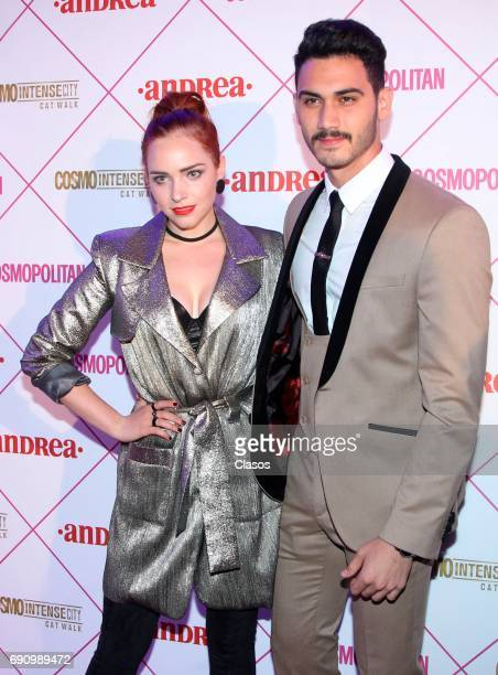 Mexican actress Minnie West and Alex Speitzer pose during the Cosmo Fashion Night Red Carpet on May 30 2017 in Mexico City Mexico