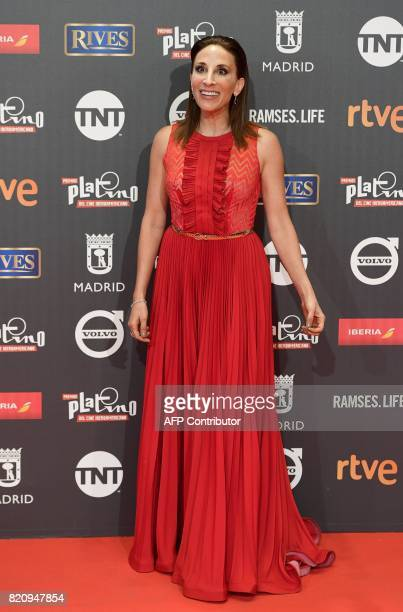Mexican actress Monica Huarte poses on the red carpet during the 4th edition of the 'Premios Platino' for IberoAmerican Cinema awards ceremony in...