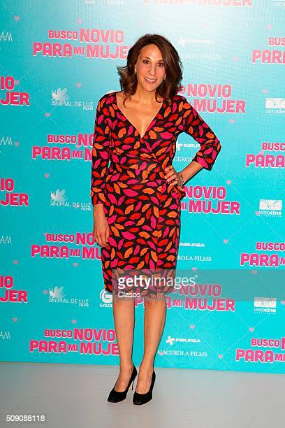 Mexican actress poses for pictures during a press conference of the film 'Busco novio para mi mujer' at Universidad square on February 08 2016 in...