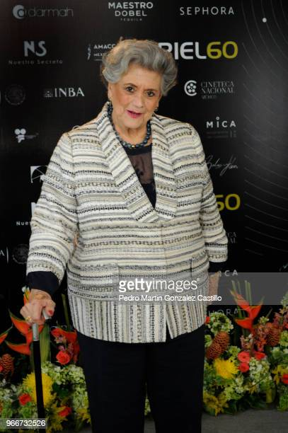 Mexican actress Queta Lavat poses during a photocall ahead of 60th Ariel Awards nominees presentation at Estudios Churubusco on May 28 2018 in Mexico...
