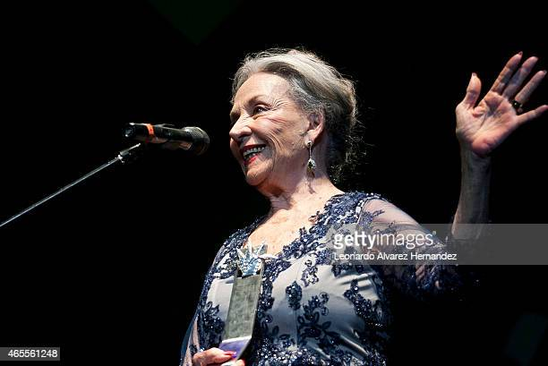 Mexican actress screenwriter and producer Isela Vega receives the Mayahuel de Plata award during the opening celebration of the 30° Guadalajara...