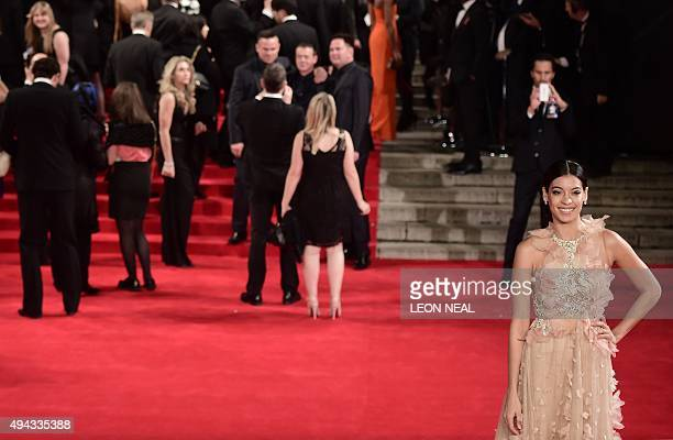 Mexican actress Stephanie Sigman poses on arrival for the world premiere of the new James Bond film 'Spectre' at the Royal Albert Hall in London on...