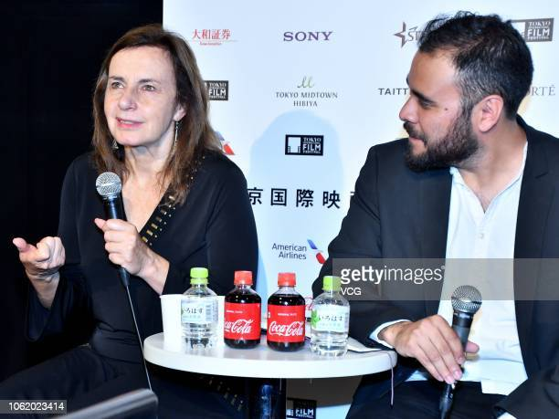 Mexican actress Veronica Langer attends a press conference of film 'History Lessons' during the 31st Tokyo International Film Festival on October 31...