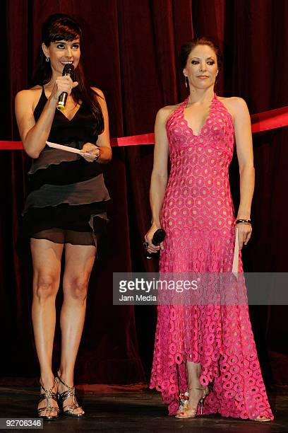 Mexican actresses Alejandra Barros and Andrea Noli on stage during the opening night of La Costena Theater located in the metropolitan zone of Santa...